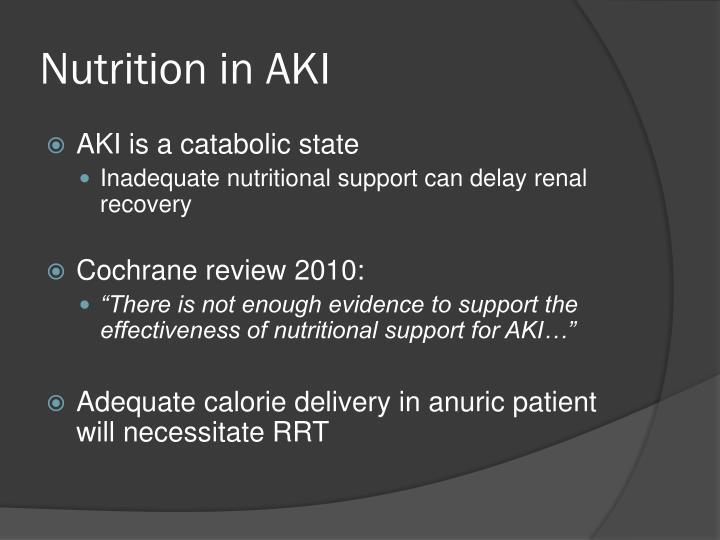 Nutrition in AKI