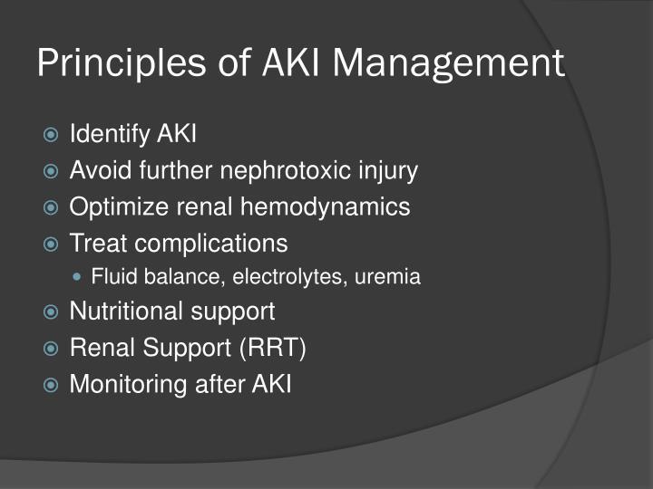 Principles of AKI Management
