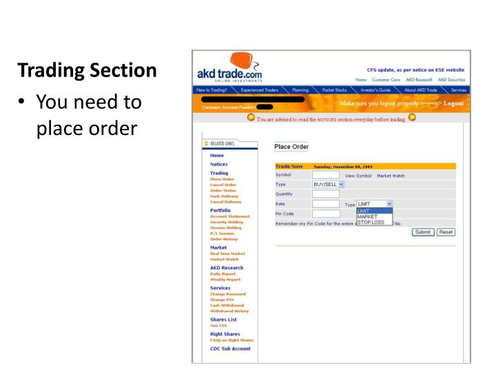 Trading Section