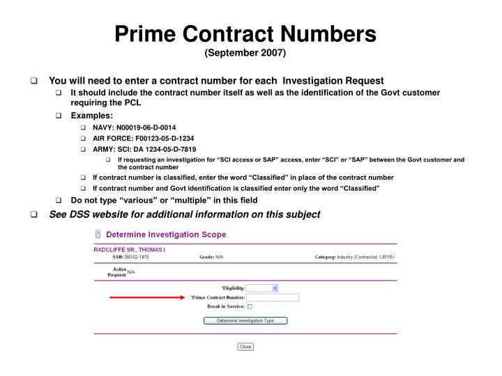 Prime Contract Numbers