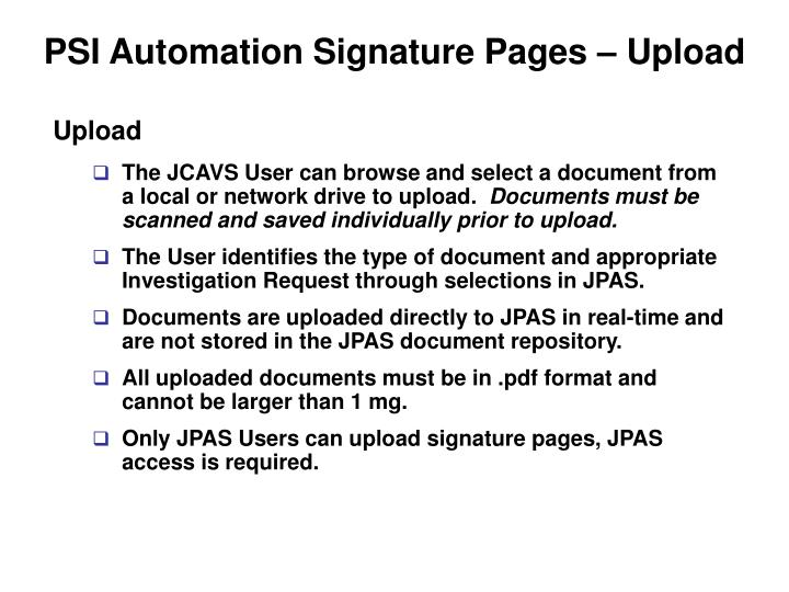 PSI Automation Signature Pages – Upload