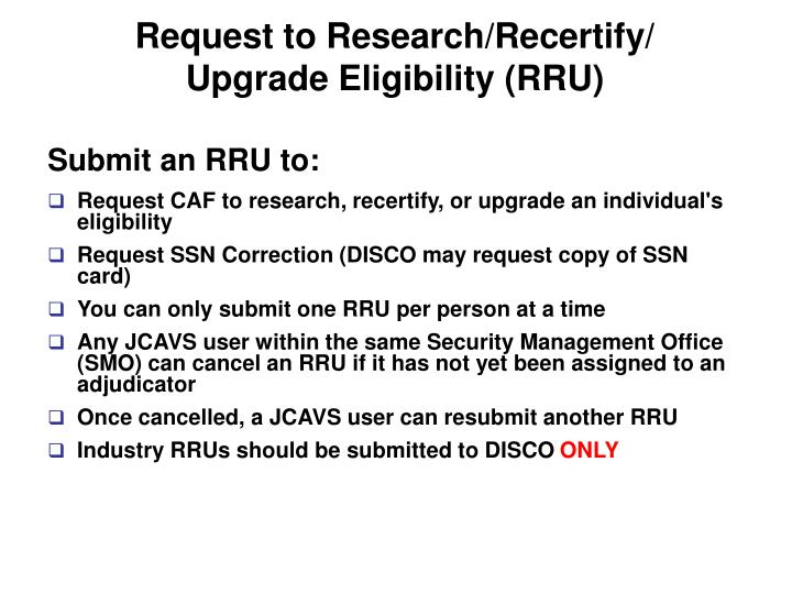 Request to Research/Recertify/