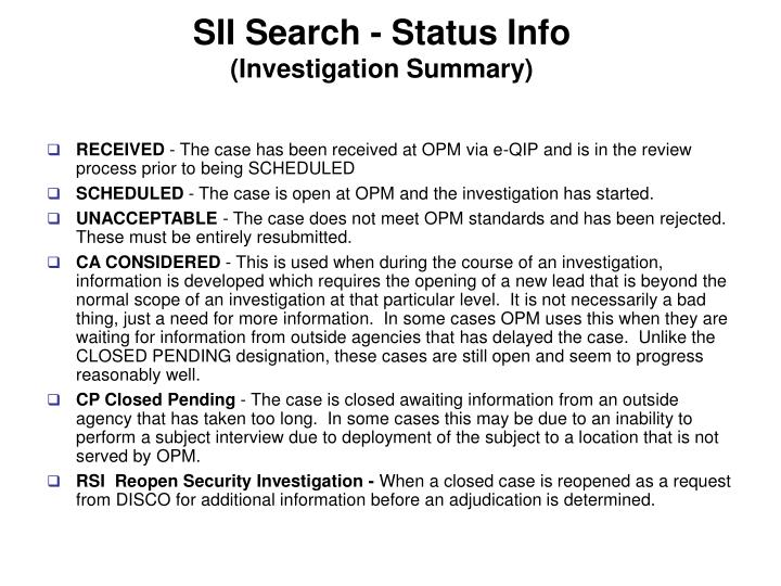 SII Search - Status Info