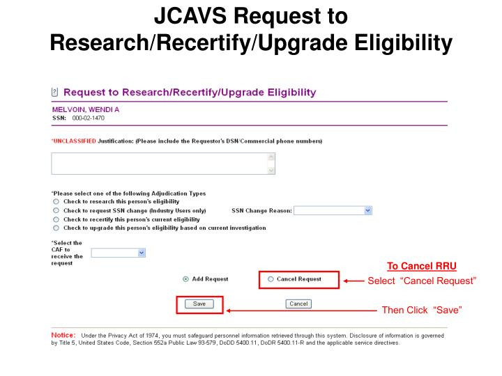 JCAVS Request to