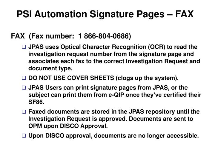 PSI Automation Signature Pages – FAX
