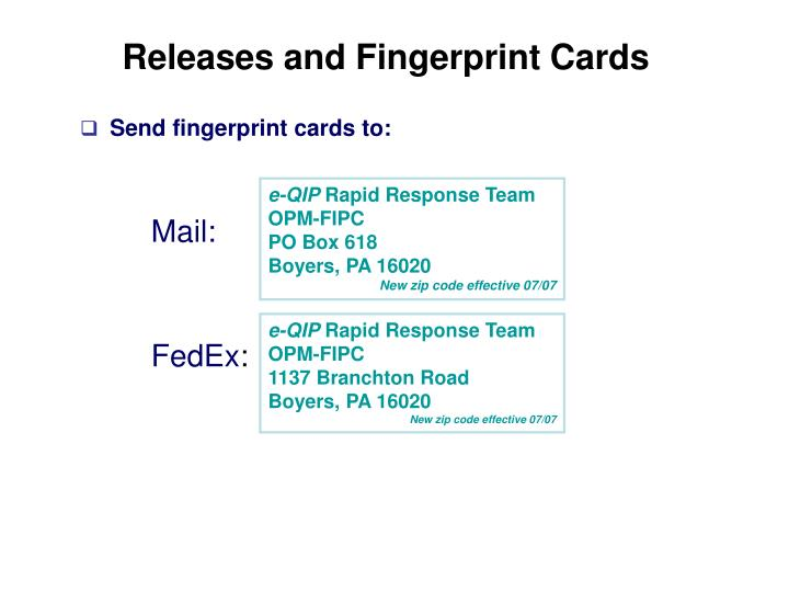Releases and Fingerprint Cards