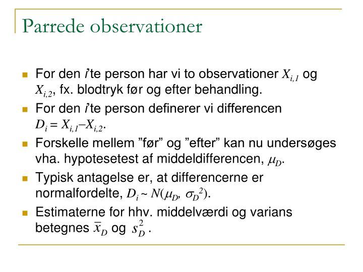 Parrede observationer