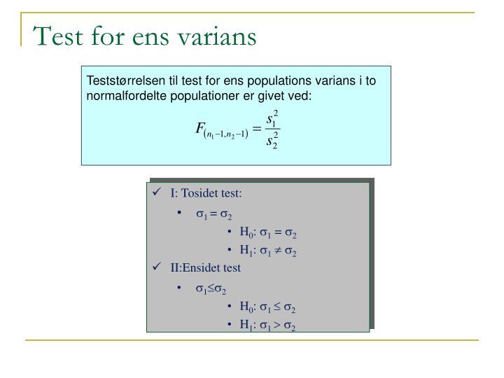 Test for ens varians