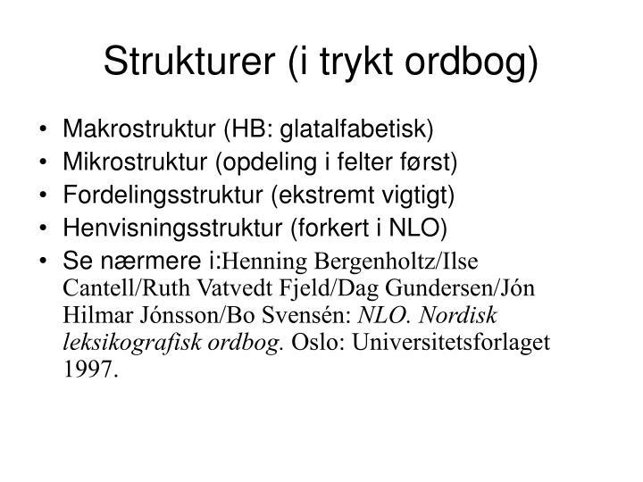 Strukturer (i trykt ordbog)