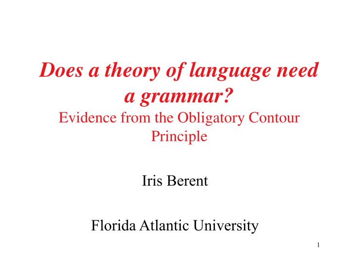 does a theory of language need a grammar evidence from the obligatory contour principle