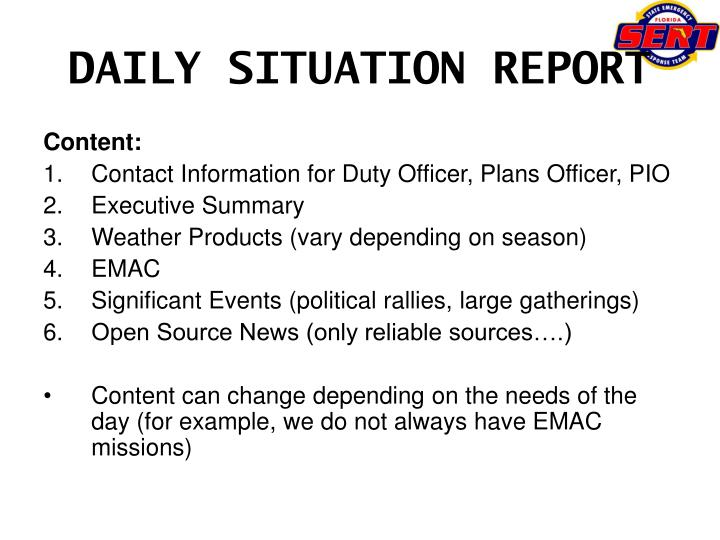 DAILY SITUATION REPORT