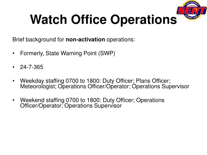 Watch office operations