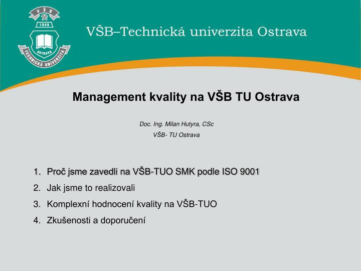 Management kvality na VŠB TU Ostrava