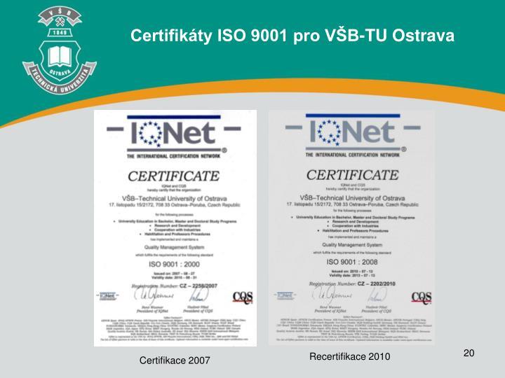 Certifikáty ISO 9001 pro VŠB-TU Ostrava