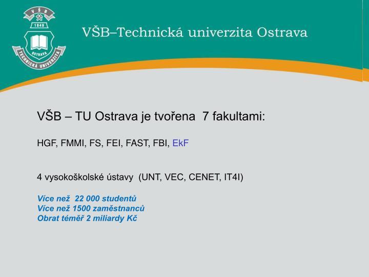 VŠB – TU Ostrava je tvořena  7 fakultami: