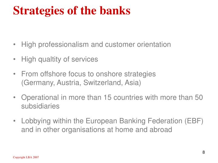 Strategies of the banks