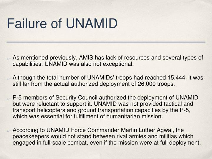 Failure of UNAMID