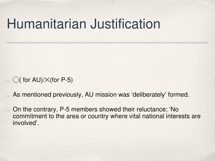 Humanitarian Justification