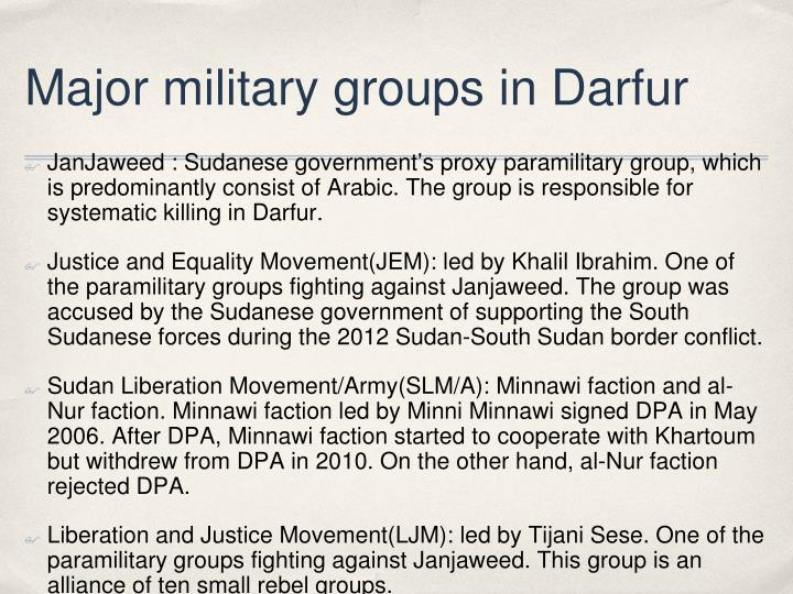 Major military groups in Darfur