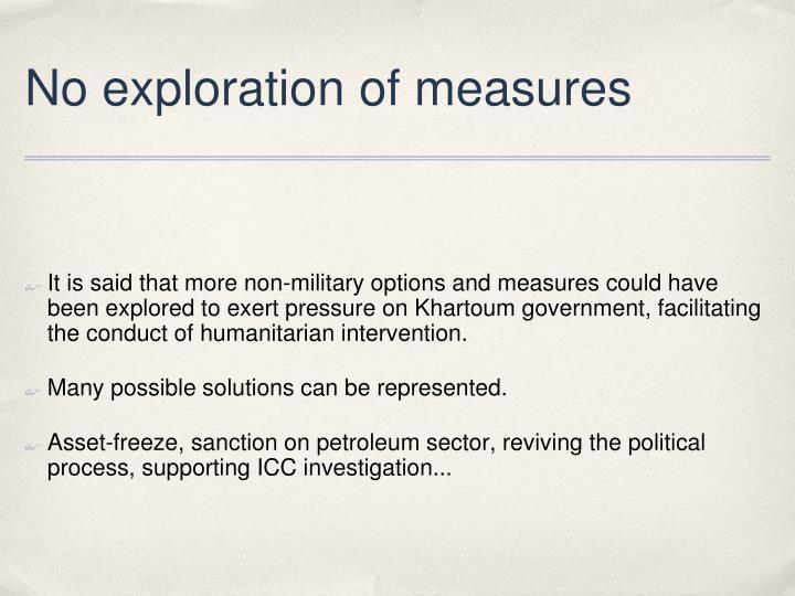 No exploration of measures