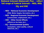 national interest balanced plan reflect full range of federal interest ned red eq and ose