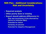 ner plan additional considerations risk and uncertainty