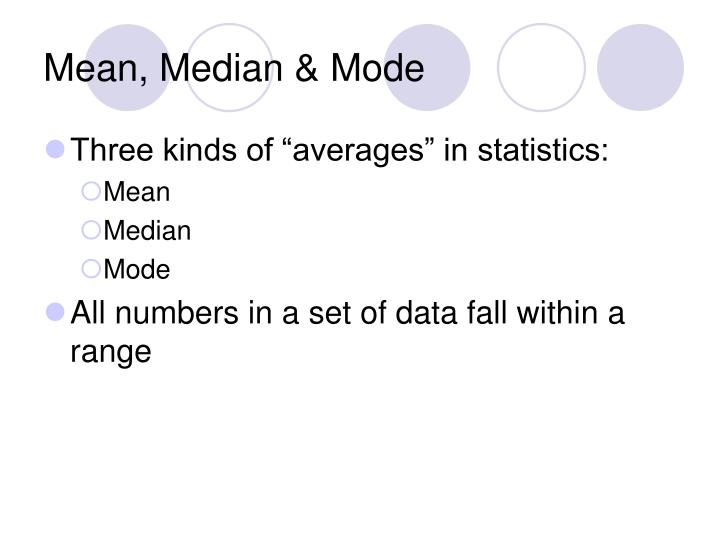 application of mean median mode The mean, the median, and the mode are each seven for these data here is a video that summarizes how the mean, median and mode can help us describe the skewness of a dataset don't worry about the terms leptokurtic and platykurtic for this course.