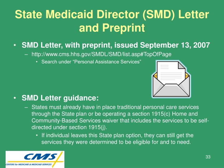 State Medicaid Director (SMD) Letter and Preprint