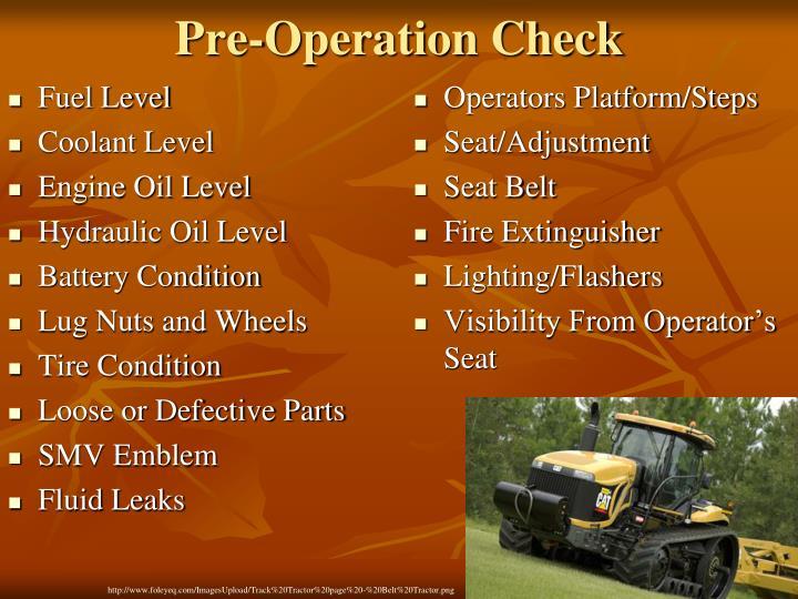 pre operation check n.