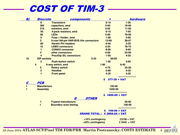 COST OF TIM-3