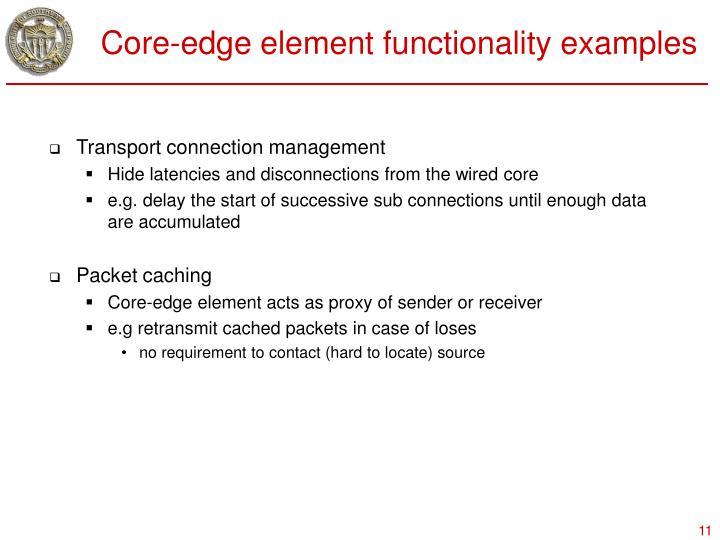 Core-edge element functionality examples