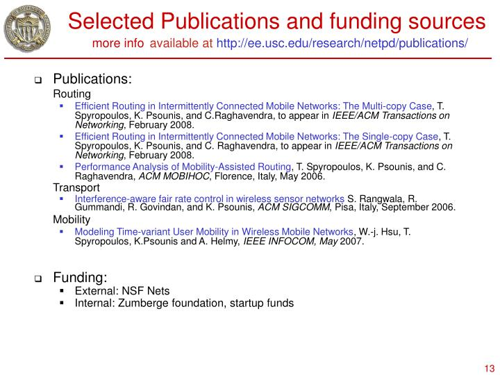 Selected Publications and funding sources