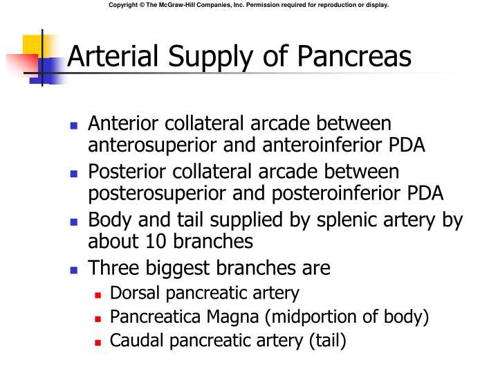 Arterial Supply of Pancreas