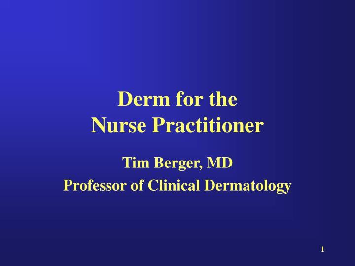 derm for the nurse practitioner n.