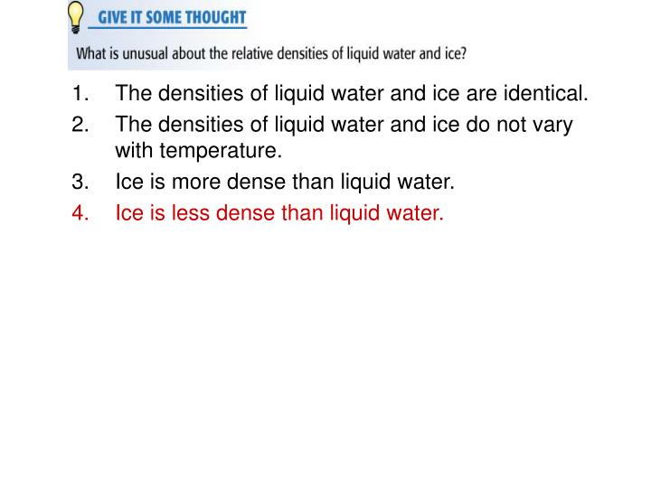 The densities of liquid water and ice are identical.