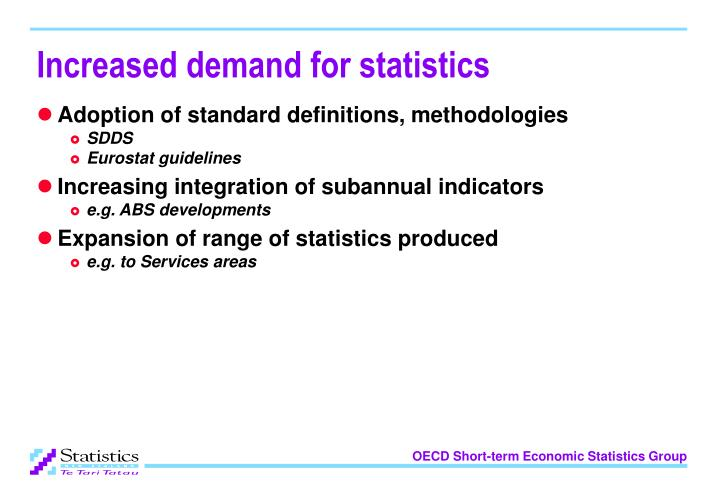 Increased demand for statistics