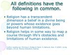 all definitions have the following in common