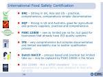 international food safety certification