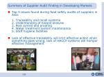 summary of supplier audit finding in developing markets