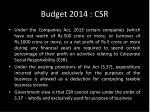 budget 2014 csr