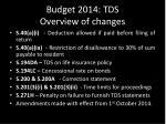 budget 2014 tds overview of changes