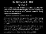 budget 2014 tds s 194lc