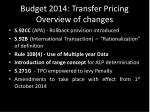 budget 2014 transfer pricing overview of changes