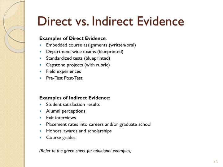 Direct vs. Indirect Evidence
