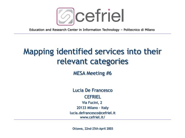 mapping identified services into their relevant categories n.