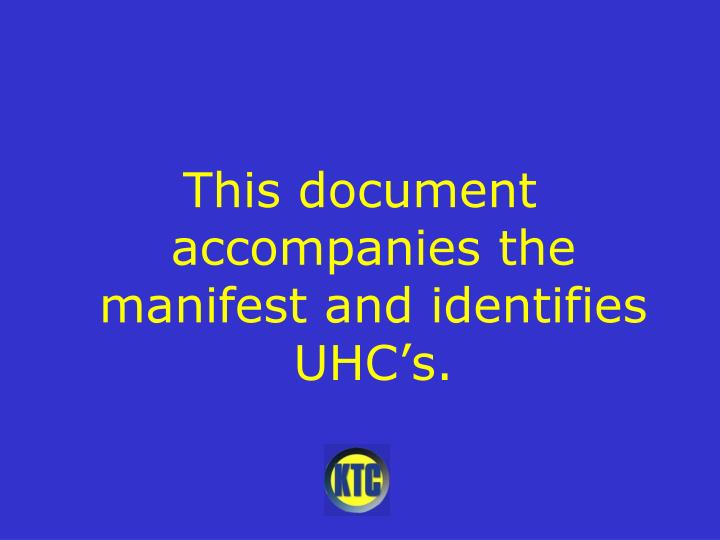 This document accompanies the manifest and identifies UHC's.