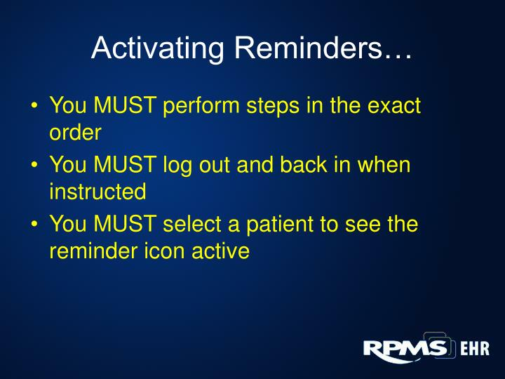 Activating Reminders…