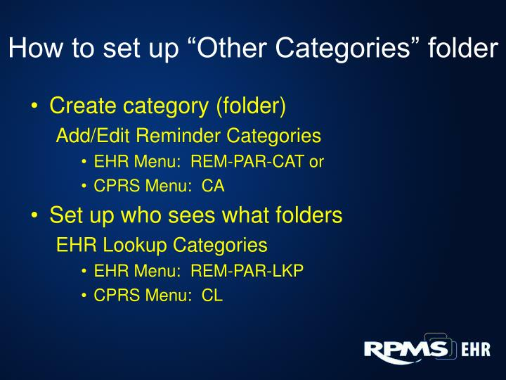 """How to set up """"Other Categories"""" folder"""