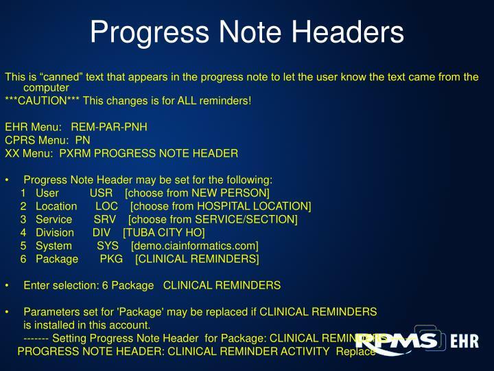 Progress Note Headers