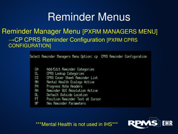 Reminder Menus